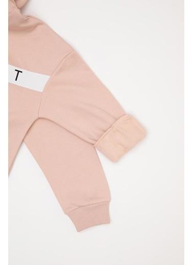 Defacto –Fit Kız Çocuk Relax Fit Kapüşonlu Sweatshirt Pembe